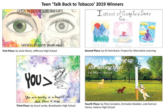 Winning entries from the 2019 Teen 'Talk Back to Tobacco' Billboard Design Contest