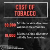 The cost of tobacco: 59,000 Montana kids alive now will become smokers. 19,000 Montana kids alive now will die from smoking.